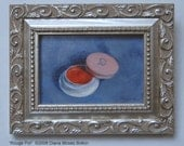 Original Oil Painting -- ROUGE POT -- 2.25 x 3.25 inch miniature framed still life, by Diana Moses Botkin