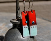 Red and Turquoise Torch Fired Enamel Earrings