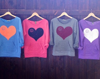fd Heart Wide Shoulder Girly Sweatshirt.  Color and ink color of your choice.  Sizes M-XL.