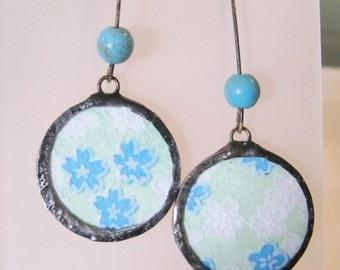 blue flower earrings - boho earrings - washi paper earrings - pastel earrings - long earrings - turquoise earrings