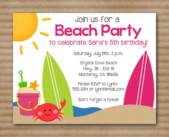 Ambitious image in beach party invitations free printable