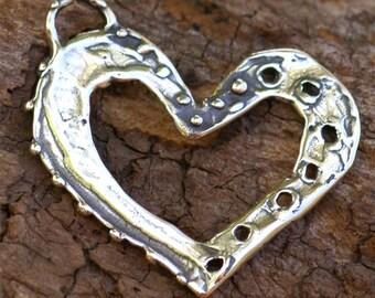 Open Heart Pendant in Sterling Silver -80