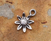 2  Antique Silver Daisy Charms - 13.4 x 11.4  Fine Silver Plated Pewter Low Shipping