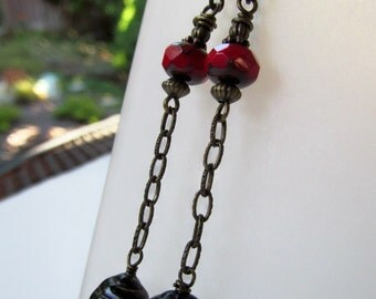 Red and Black Czech Beads with Antiqued Brass Chain Niobium Earrings