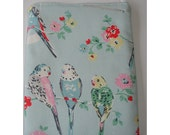 Mini iPad Mini Case Cover Pouch Sleeve Designer Cath Kidston Big Budgies Fabric Budgie Budgerigar Budgerigar Tropical Bird Birds Vintage