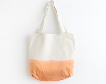 Orange dip dye cotton tote II