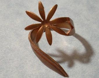 Vintage Flower Ring 19mm Wraparound Ring Adjustable Wrap Ring