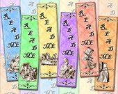 "Alice In Wonderland - Set of 12 Mini Bookmarks -1.33""x5"" -Instant Download- Printable Collage Sheet  JPG Digital File- BuY OnE GeT OnE FREE"