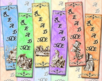 "Alice In Wonderland - Set of 12 Mini Bookmarks -1.33""x5"" -Instant Download- Printable Collage Sheet  JPG Digital File"