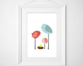 birdie parents & toddler single egg  - nursery art print