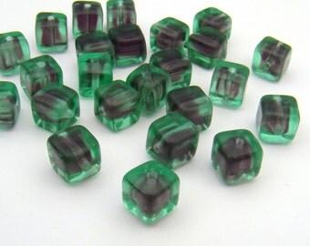 Cube beads, Czech green and purple transparent glass 6mm, 24 pcs