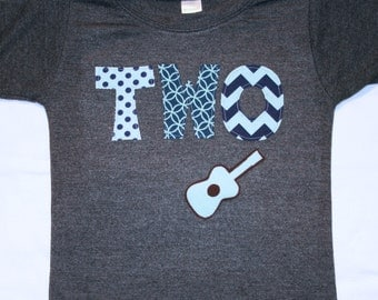 Boys TWO Shirt with Guitar for Second Birthday - heather gray shirt with navy blue and aqua lettering