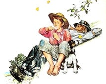 Grandpa and Me in Summer - Vintage1978 Norman Rockwell Print - 9 x 11