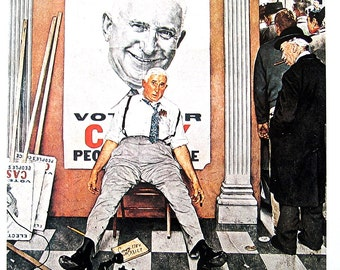 Before and After - Large Norman Rockwell Poster Sized Print - 1977 Vintage Book Page - 15 x 12