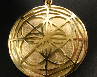 FREE Priority shipping 14 Karat Gold Handmade Universal Pattern Pendant with 14k Gold plated Chain