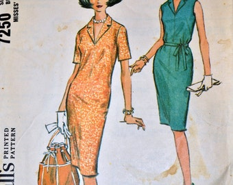 Vintage 1964 Sewing Pattern McCall's 7250 Sheath Dress Bust 31  inches Complete