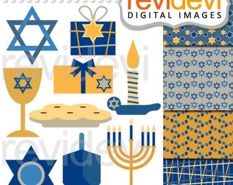 Hanukkah clipart sale - Jewish holiday Chanukkah clip art commercial use, digital papers