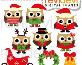 Christmas clipart sale, owls, sleigh, wreath, bell / Christmas Owls clip art / download owls digital images, commercial use