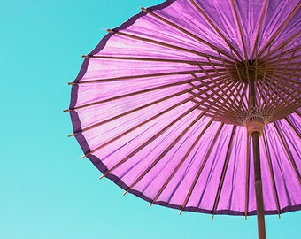 Umbrella Print, Asian Paper Umbrella Photo, Purple Teal Decor, Nursery Decor, Purple Umbrella