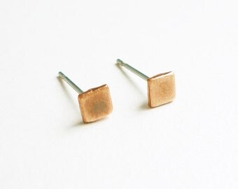4 mm Teeny Tiny Brush Copper Square Stud Earrings 925 Sterling Silver Posts,Bridesmaid Gift,Everyday Jewelry,Simply Jewelry,Geometric