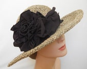 Ladies Straw Sun Hat - Seagrass with Organic Cotton and Hemp Jersey - Julia Rose