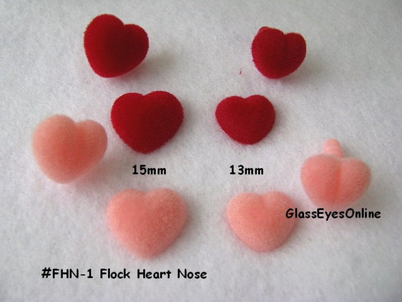 10 Flock Heart Noses, Buttons, Eyes 13mm or 15mm for Dolls, Teddy Bears, Plush Animals, Sewing, Crochet, Amigurumi (FHN-1)