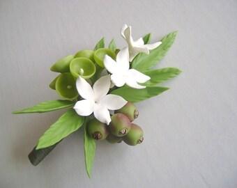 White Stephanotis Boutonniere Groomsmen Bestman Boutonniere Wedding Clay Flower
