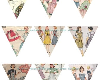 Digital Mini Vintage Apron Sewing Pattern Bunting Banner 2.5 inches - INSTANT DOWNLOAD - DIY