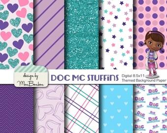 Disney Jr. Doc McStuffins Inspired 8.5x11 A4 Digital Paper Backgrounds for Digital Scrapbooking, Party Supplies, etc -INSTANT DOWNLOAD -
