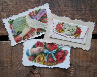Vintage Victorian Embossed Cards and Scraps - Set of 3 - Floral, Flowers