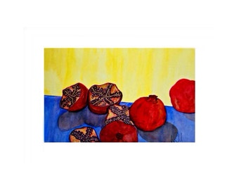 red pomegranates on yellow original art and prints cute for kitchen.