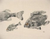 Perch and Bluegills Original GYOTAKU Fish Rubbing Lake Art on Best Natural Muslin cloth for cabin or cottage