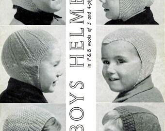 Vintage Helmets 6 Styles for Boy's in 6 Sizes, Knitting Pattern, 1960 (PDF) Pattern, P&B 1040