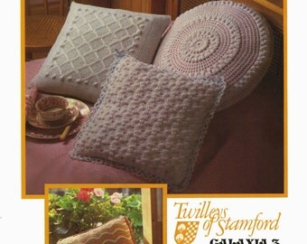 Vintage Cushion Covers, 3 Styles, Round and Square, Knitting & Crochet Pattern, 1960 (PDF) Pattern,Twilleys 6637