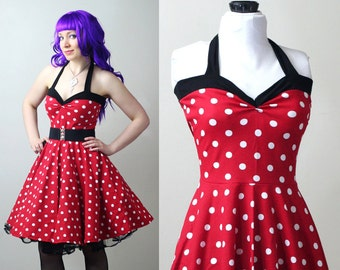 polka dot retro rockabilly Yvonne swing dress custom - smarmyclothes