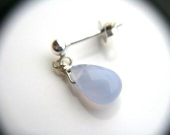 Blue Chalcedony Earrings . Light Blue Dangle Studs . Periwinkle Blue Earrings . Cornflower Blue Teardrop Earrings - Celestial Collection