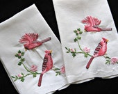 Vintage Guest Towels -- Pair -- Red Cardinals -- Hand-Embroidered -- Fingertip Towels -- Bird Lovers