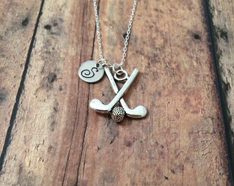 Golf clubs initial necklace - golf jewelry, silver golf necklace, gift for golfer, golf clubs jewelry, putter necklace, mini golf necklace