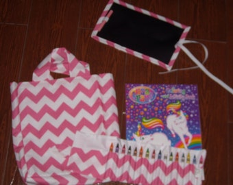 Hot pink chevron little artist set