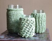 Immediate Shipping - Repurposed Recycled Knit Jar Vessel Container Candle Vase Washable Cotton Wedding Shower Party Shabby Chic