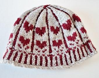 The Classic Heart - Women's Hat Knit in Wool - Oatmeal Beige & Oxblood Red - Valentine's Gift Idea, Organic Merino Wool, Clearance Sale