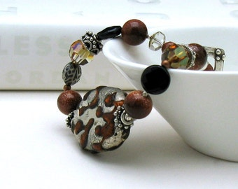 Silver and Amber Boho  Beaded  Bracelet, Artisan, OOAK,  Sterling Silver for Her Under 170