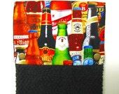 Hanging towel, Hand towel, Kitchen towel, bar towel, oven, snap on towel, camper, guest towel,  100% cotton, international beer