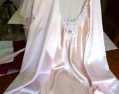Peignoir Lingerie set nightgown robe Vintage pale pink satin nylon  bride sweetheart gift