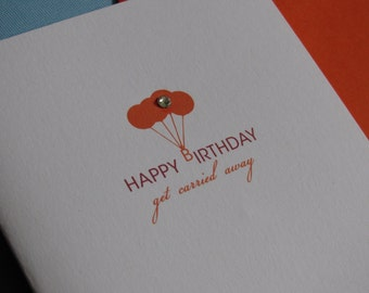 Get Carried Away, birthday card, recycled, Swarovski crystal