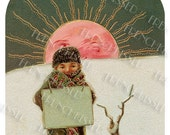 Christmas Winter Solstice Sun Boy with Placard  Customizable French Antique Postcard Digital Download