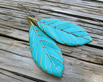 Turquoise earrings big boho earrings Leaf earrings Gift under 30 trendy Bohemian jewelry