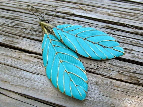 Leaf earrings turquoise dangle earrings boho earrings Beach wedding Bohemian jewelry trendy jewelry