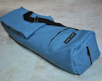 Yoga and pilates mat bag, sturdy blue weaved yoga tote bag, textured yoga mat carrier, unisex yoga bag with zipper and adjustable strap