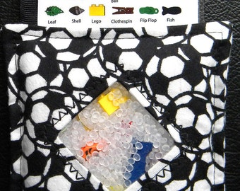 I Spy Bag - Mini with SEWN Word List and Detachable PICTURE LIST- Soccer Balls